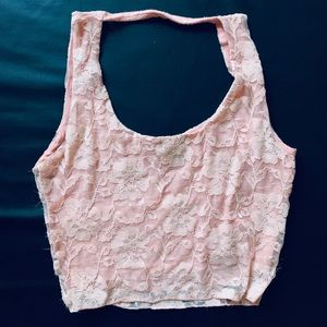 Lace floral coral pink sleeveless crop top (small)